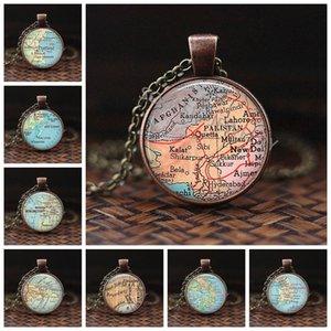 Neues Design Glaskuppel Halskette Karte Anhänger Schmuck Pakistan Vintage Karte Handgemachte Glas Cabochon Halskette Weihnachtsgeschenk