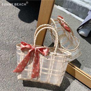 new Transparent texture woven bag pvc fashion woven handbag retro natural style summer basket beach bag shoulder bags
