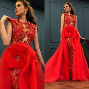 2020 Nova Africano Yousef aljasmi Mermaid Vestidos Lace lantejoulas frisada Jewel Neck Plus Size Longo Prom Vestidos