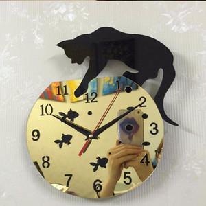 새로운 디자인 쿼츠 시계 고양이 벽 시계 아크릴 거울 깎았 Horloge 니들 DIY 시계 거실 장식 현대 시계 3D 스티커