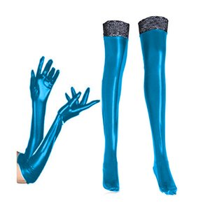 Plus Size 2PCS Set Sexy Shiny Faux Leather Long Gloves Lace Edge Thigh High Stockings Cosplay Party Catwoman Costume Accessories