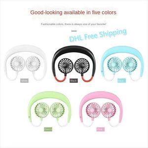Portable USB Rechargeable Neckband Fan Dual Cooling Mini Fan Sport 360 Degree Rotating Hanging Neck Fan DHL Free Shipping