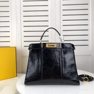 alta calidad bolsas de las mujeres del monedero de moda de lujo del diseñador del monedero del bolso de cuero genuino bolso de las mujeres F lconlc 33cm de cera de cuero damas bolsos de petróleo