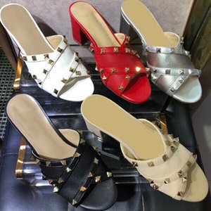 2019 shoes Imported leather goods fabric rivet elements decoration Sexy glamorous women's Hoof Heels Casual Slides slipper Dress sandals