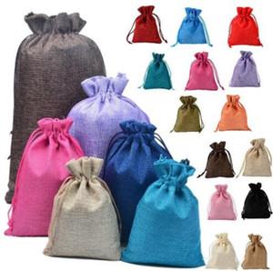 Bolsas con cordón de lino bolsas de tela de lino de imitación de joyería de embalaje bolsa de regalo sólido multicolor pequeño de tela bolsa de almacenamiento YP374