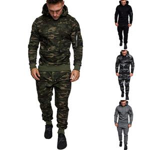 4 cores Mens Fatos camisola com capuz camuflagem Sports Calças Suit manga comprida Sportswear capuz aptidão que funciona sweater terno