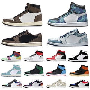 nike air jordan retro 1 aj1 travis scott 1 jumpman 1s homens mulheres tênis de basquete obsidiana UNC Pine Green Shattered Backboard mens Outdoor outdoor trainers sports sneakers