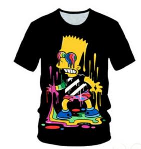 Nuevo anime de dibujos animados Simpson unisex de la impresión 3D camiseta divertida de mujeres de los hombres de moda de Harajuku Camiseta Tops Q1204 camisas divertidas del Hombre camiseta de Hip Hop