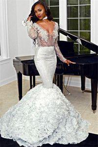 2020 Sexy prata Mermaid Prom Vestidos Sparkly 3D Flores profundo decote em V Vestido de Noite mangas compridas Africano Plus Size Formal vestido de festa BC3673