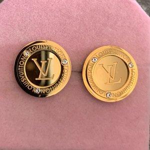 وصول جديدة عالية الجودة من الدرجة نمط أقراط مطلية بالذهب الجوف تصميم الأزرار الأذن 3 ألوان الأقراط الفولاذ المقاوم للصدأ للنساء بالجملة