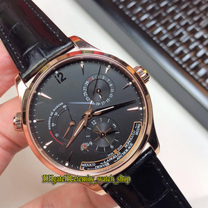 Version de haut niveau MASTER GEOGRAPHIC Q1422421 Cadran noir multifonctions Cal.939A Boîtier en or rose automatique Montre à bracelet en cuir