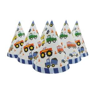 6pcs / set Construction Vehicle Theme Happy Birthday Paper Hat Gorras para niños Niños Niñas Baby Shower Party Sombreros Decoración Supplie