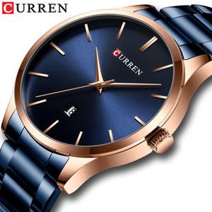 İzle Erkekler Moda Stil CURREN Klasik Kuvars Saatler Paslanmaz Çelik Bant Erkek Saat İş Erkek saatı Elbise İzle