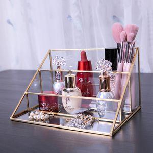 Triângulo Nórdico carrinho de exposição de Banho escova da composição Batom Organizador 3-Camadas Maquiagem vidro Organizador Decoração Gadgets