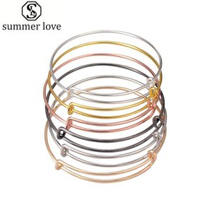 50pcs lot silver gold color charm bangle expandable wire bracelet adjustable black bangle for women diy jewelry making