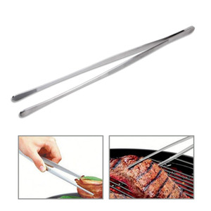 Barbacoa 30cm Pinzas de acero inoxidable Extra Larga barbacoa pinzas de Alimentos Carne Clip barbacoa filete de carne de las pinzas de precisión Con puntas estriadas