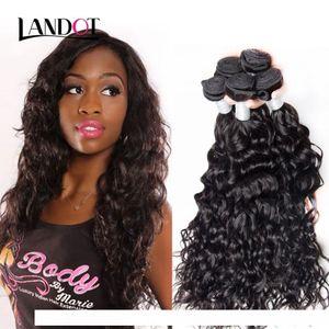 H 8a Peruvian Indian Malaysian Brazilian Virgin Human Hair Weave Bundles Body Wave Straight Loose Deep Water Curly Natural Black Mink H