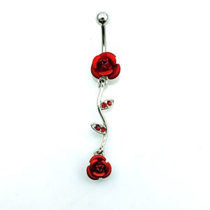 Body Piercing Ombelico Anelli dell'acciaio inossidabile di modo Bilanciere ciondola Red strass Rosa del doppio dei monili degli anelli ombelico ps0822