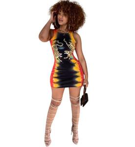 Fashion Summer women Bodycon Dress Sexy Girocollo senza maniche Tiger Print Mini Abiti 2019 New Casual Party Vest dress
