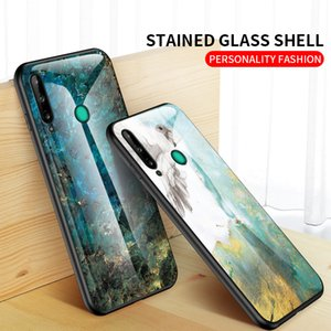 Marble Grain Painted Glass Phone Case For Huawei P40pro Mate30pro Mate20X 5G Stained Glass Shell For P40Lite Y6P Honor X10 Soft TPU Edge