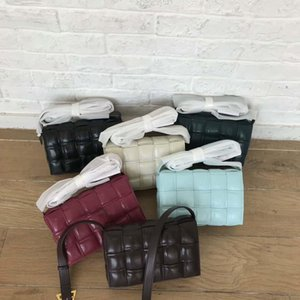 Handbag shoulder bags 2019 women s messenger bag leisure temperament pleated Plaid woven cow leather pillow
