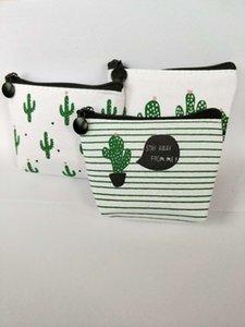 Jolie petite toile fraîche porte-monnaie mignon mini fermeture à glissière sac de pièce de conception cactus en gros