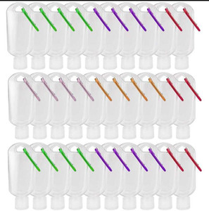 최고의 30ML / 50ML / 60ml의 여행 플라스틱 클리어 키 체인 손 소독제 병, 플립 캡 리필 빈 병 휴대용 짜기 컨테이너