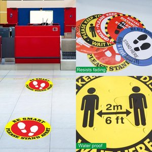 Sol Autocollants terre Connexion Étiquette isolé Keep Wait ici Eloignement Social Shop Floor Sign 30cm Anti Slip Safe Autocollants 5pcs Stay LJJO7966