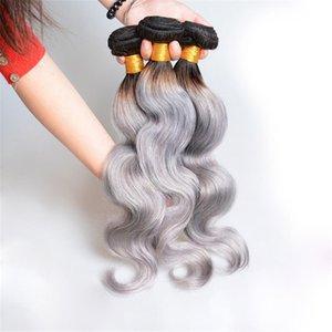 Ombre Capelli brasiliani Bundles 1B / Grigio dell'onda del corpo di tessitura di due toni naturali dei capelli umani Weave Bundles 8-30 pollici 3 pacchi / lotto
