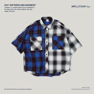 Camisa dos homens INF primavera e verão nova marca maré T-shirt ocasional Europeu Americano retro cor xadrez correspondência confortável camisa de algodão oversize