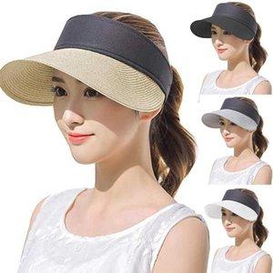 SAGACE Moda Şapka Kadın Straw Güneşlik Şapka Roll Up Boş Üst Straw Yaz İçin Kadınlar ile Geniş Brim UV Koruyucu Güneş