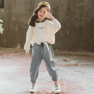 Girls Clothes Spring Long Sleeve Girls Clothing Toddler Hoodies Tops Denim Pants Jean Children Suits Kids Clothes Sets 4-12Y
