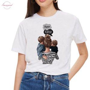 Sexemara Mommys Love Female T Shirt Mom And Short Daughter T Shirt Women Super Mama Print White T Shirt Streetwear Vogue