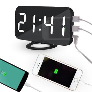 Bella casa multifunzione LED Specchio Alarm Art Digital Orologio Da Parete Porta moderna a specchio elettronico Snooze Analogico Orologio Da Tavolo Regalo