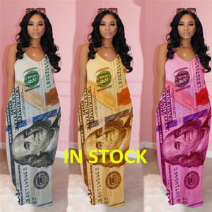 2020 Femmes Summer Long Maxi Dress Bracelet Dollar US Imprimer vrac poches Casual Street Slip Vintage Robes de nuit Party Club Robes D61814