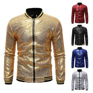 CYSINCOS Blazer da uomo lucenti Paillettes dorate Abito da cerimonia con giacche Giacche da discoteca da uomo Blazer da uomo con un bottone Blazer da palcoscenico DJ SH190915