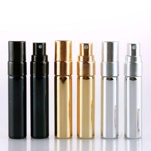 5ML portable glass sample bottle gold silver black aluminum spray bottle empty refillable perfume atomizer WB1982