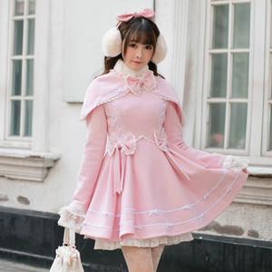 Женская шерстяная смесь принцессы сладкая лолита пальто конфеты дождь зима японский тонкий с длинным рукавом плащ прекрасная девушка ветер C22CD7250