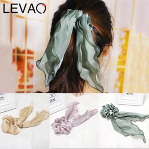 Levao Long Satin Yarn Ribbon Scrunchie Ponytail Holder Elastic Hair Bands Gum Hair Bow Scarf for Women Girls Accessories