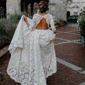 2020 Lindo Bohemian Lace Bege Aberto Voltar Vestido de Noiva com Mangas Boho Vintage Vestidos de Casamento de Praia País Plus Size Vestido de Noiva