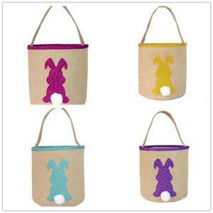 Kid Easter Bunny Bucket джута 3D Ribbit Tail Печатный Детские Easter Ковши Мода Лаки Яичные Корзины для детей конфеты сумки Сумки Игрушки для хранения WY518Q
