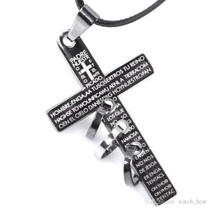 2018 New Retro Men Cross Leather Cord Titanium Steel Chain Necklace Fashion Antique Design Mens Jewelry Wholesale