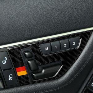 Fibra di carbonio Interior Decoration Moulding Sedile pulsante di regolazione delle decalcomanie autoadesivo rivestimento della porta strisce per Mercedes Classe C W204