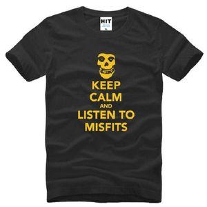 Keep Calm и слушать Misfits черепа печати футболки мужчин с коротким рукавом O образным вырезом хлопок мужская майка Hardcore Punk Rock Men Top Tee