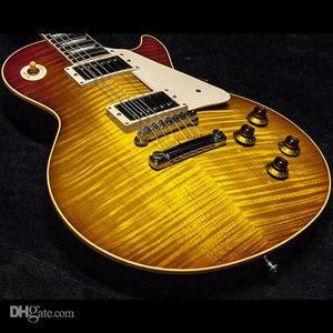 Coletores Custom Shop Escolha NO.2 Gary Moore Aged '59 Reissue guitarra elétrica Tiger Flame Bege Top