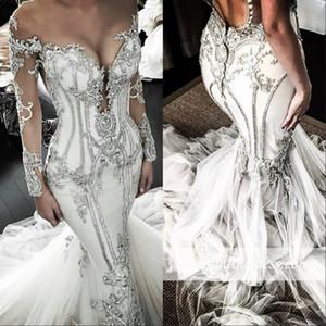 Sereia Árabe Vestidos de Casamento Sheer Neck Cristais Beads Lantejoulas Plus Size Vestido De Noiva Lace Apliques Botões Mangas Compridas Vestidos de Noiva