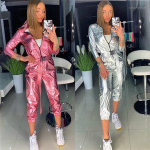 Jumpsuits Solid Color Printed Pocket Zipper Neck Rompers Fashion Street Style Female Clothing Autumn Womens Designer