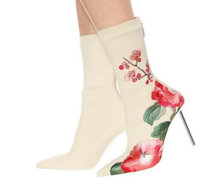 Embroidery Flower Mid-Calf Boots Women Knitting Botas Mujer Concise Pointed Toe Thin High Heels 2019 New Autumn Botas De Mujer