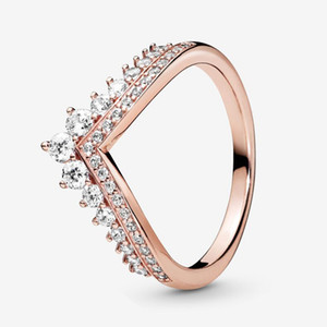 Princess Wishbone Ring Luxury Designer Jewelry for Pandora 18K Rose gold Women Wedding RING with Original logo box sets