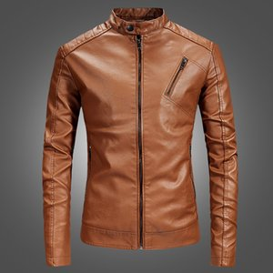 Autumn And Winter New Style MEN'S Leather Coat-Style Stand Collar Casual Ouma Slim Fit MEN'S Leather Jacket Coat Fashion